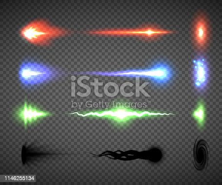 Futuristic energy weapon firing effect vectors, sci-fi or computer game graphics of weapon nozzle flash, projectile and hit, an electric, blaster, laser, singularity or plasma gun shots illustrations