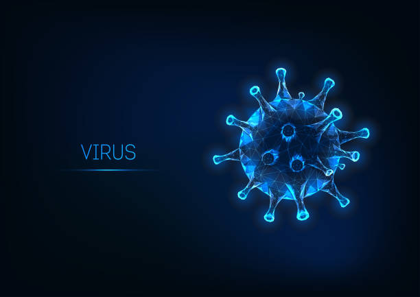 futuristic flu virus cell isolated on dark blue background. pathogenic viral infection - virus stock illustrations