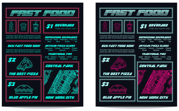 Futuristic Fluorescent Neon Pink and Blue Cyberpunk Food Menu Template for Synthwave Restaurant vector art illustration