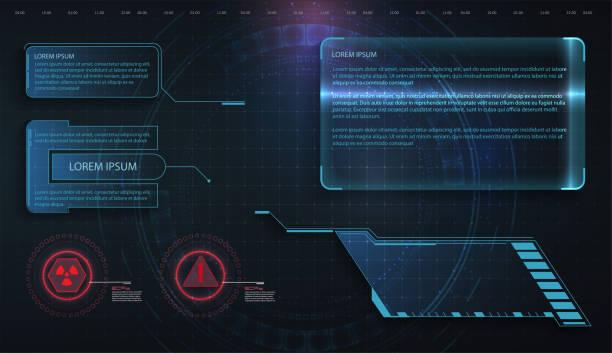 hud、ui、gui未來框架使用者介面螢幕元素設置。設置與呼叫退出通信。抽象控制台佈局設計。虛擬hi scifi技術小工具介面的遊戲應用程式 - 控制板 幅插畫檔、美工圖案、卡通及圖標