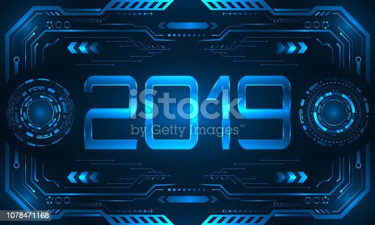 HUD UI Futuristic Frame with Text 2019, Happy New Year. Virtual Background - Illustration Vector
