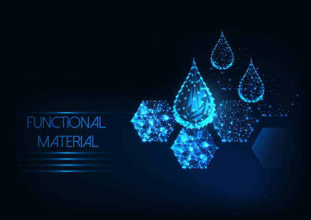 Futuristic functional material concept with glowing low polygonal water drops and hexagonal material Futuristic functional material concept with glowing low polygonal water drops and hexagonal innovative membrane material on dark blue background. Modern wire frame mesh design vector illustration. porous stock illustrations