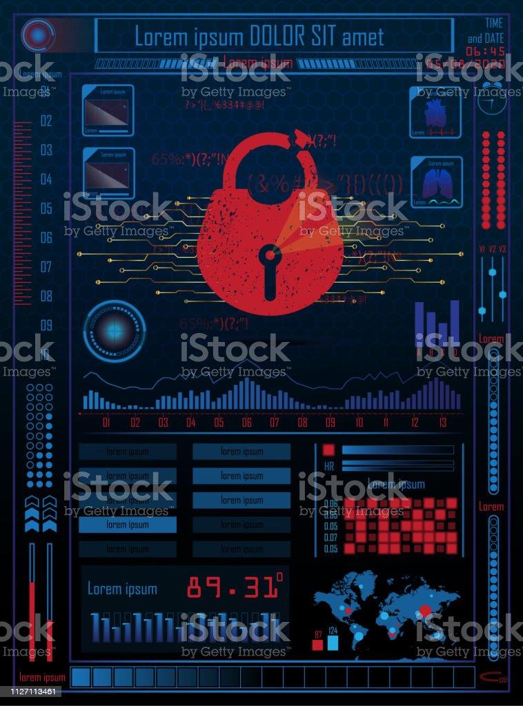 Futuristic Future Sci Fi Cyber Security Hud With Internet