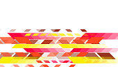 Futuristic geometric techno background - Red and yellow stripes and parallelograms on a white background.