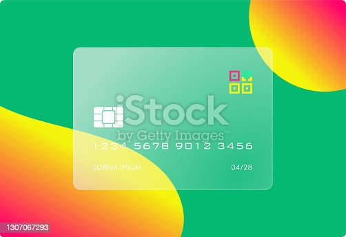 istock Futuristic Glass Credit Card with QR Code 1307067293