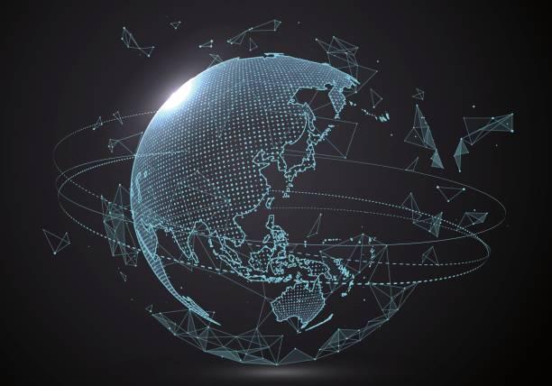 Interface de globalização futurista, um sentido de ciência e tecnologia abstrato gráficos. - ilustração de arte em vetor