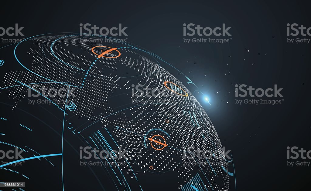 Futuristic globalization interface. - Illustration vectorielle