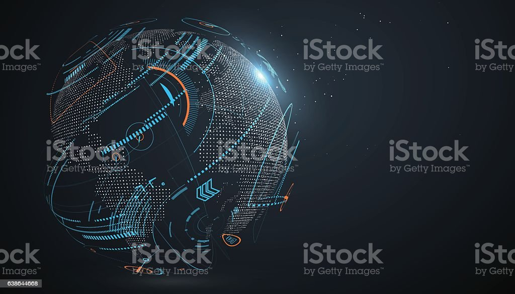 Futuristic globalization interface. vector art illustration