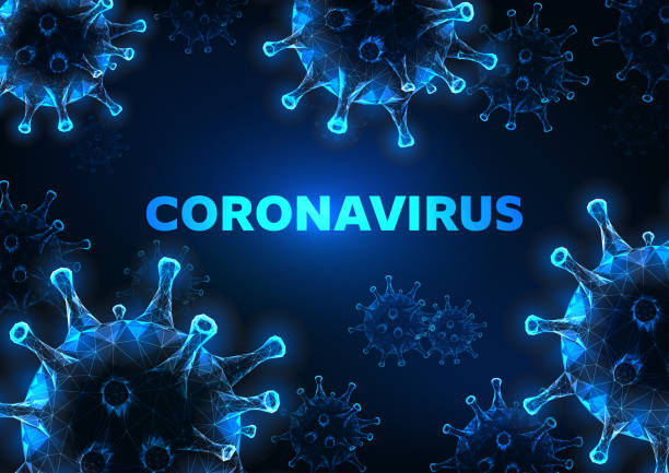 futuristic glowing low polygonal coronavirus cells banner on dark blue background. - covid 19 stock illustrations
