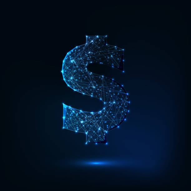 Futuristic glowing low polygonal dollar sign isolated on dark blue background. Futuristic glowing low polygonal dollar sign made of lines, stars, dots, light particles isolated on dark blue background. Finances concept. Modern wire frame mesh design vector illustration. us currency stock illustrations