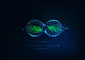 Futuristic glowing low polygonal infinity pool sign with green leaves made of lines, stars, triangles isolated on dark blue background. Endless nature concept. Wireframe design vector illustration.