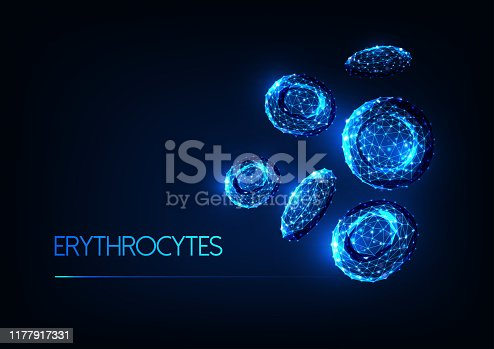 Futuristic glowing low polygonal red blood cells erythrocytes isolated on dark blue background. Blood testing, immunology concept. Modern wireframe design vector illustration.