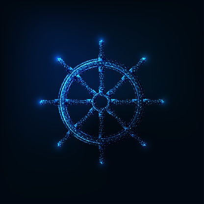 Futuristic glowing low polygonal ship wheel isolated on dark blue background.