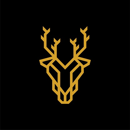 Futuristic Gold Colored Deer Glyphs Line Symbol Brand Identity