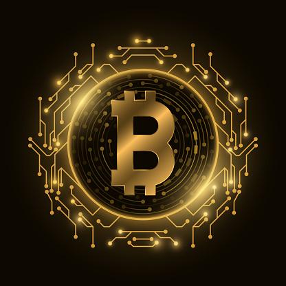 Futuristic golden Bitcoin digital currency. Computer circuit board. Cryptocurrency mining. Sci-fi design blockchain  for graphic design. Vector illustration.