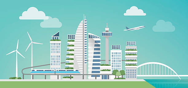 futuristic green city - smart city stock-grafiken, -clipart, -cartoons und -symbole