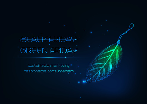 Futuristic green Friday concept with glowing low poly leaf tag and text on dark blue background.