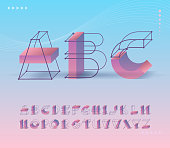 Futuristic grid and geometry shapes pictograms' type. Capital vector ABC letters for contemporary design and identity, posters.