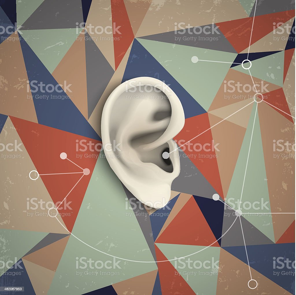 Futuristic grunge background with ear vector art illustration