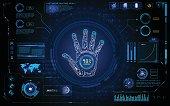 futuristic hand scan identify hud  element interface  design background template