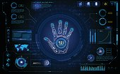 futuristic hand scan identify hud  element interface  design background template