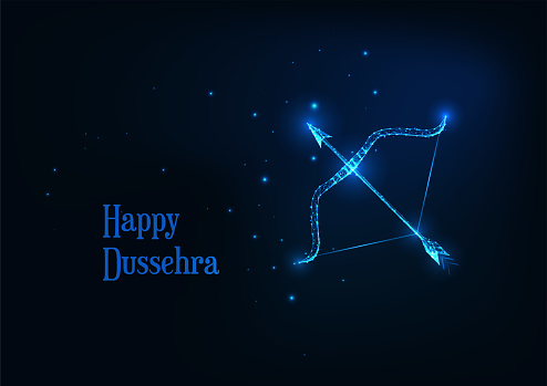 Futuristic Happy Dussehra banner with glowing low polygonal on arroe and bow dark blue background.