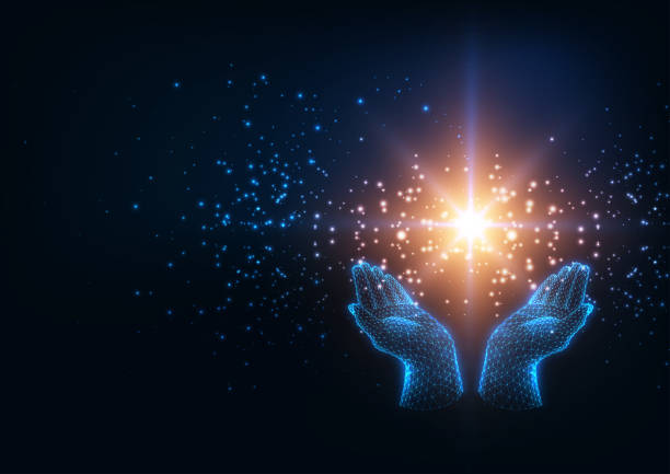 bildbanksillustrationer, clip art samt tecknat material och ikoner med futuristisk healing energi koncept med glödande låg poly mänskliga händer som innehar magiska glittrande stjärna - hand tänder ett ljus