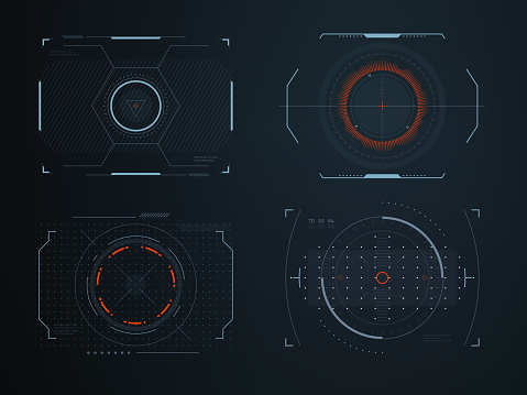 Futuristic helmet hud screens cockpit view. Glowing visual display vehicle technology. Interactive interface control vector panels