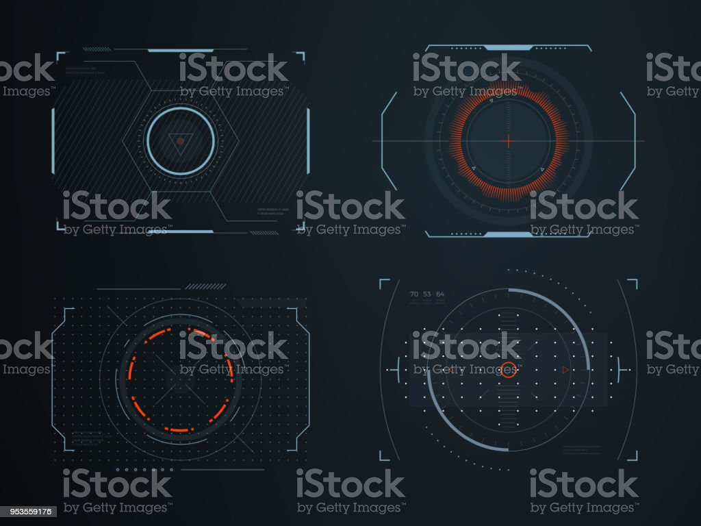 Futuristic helmet hud screens cockpit view. Glowing visual display vehicle technology. Interactive interface control vector panels vector art illustration