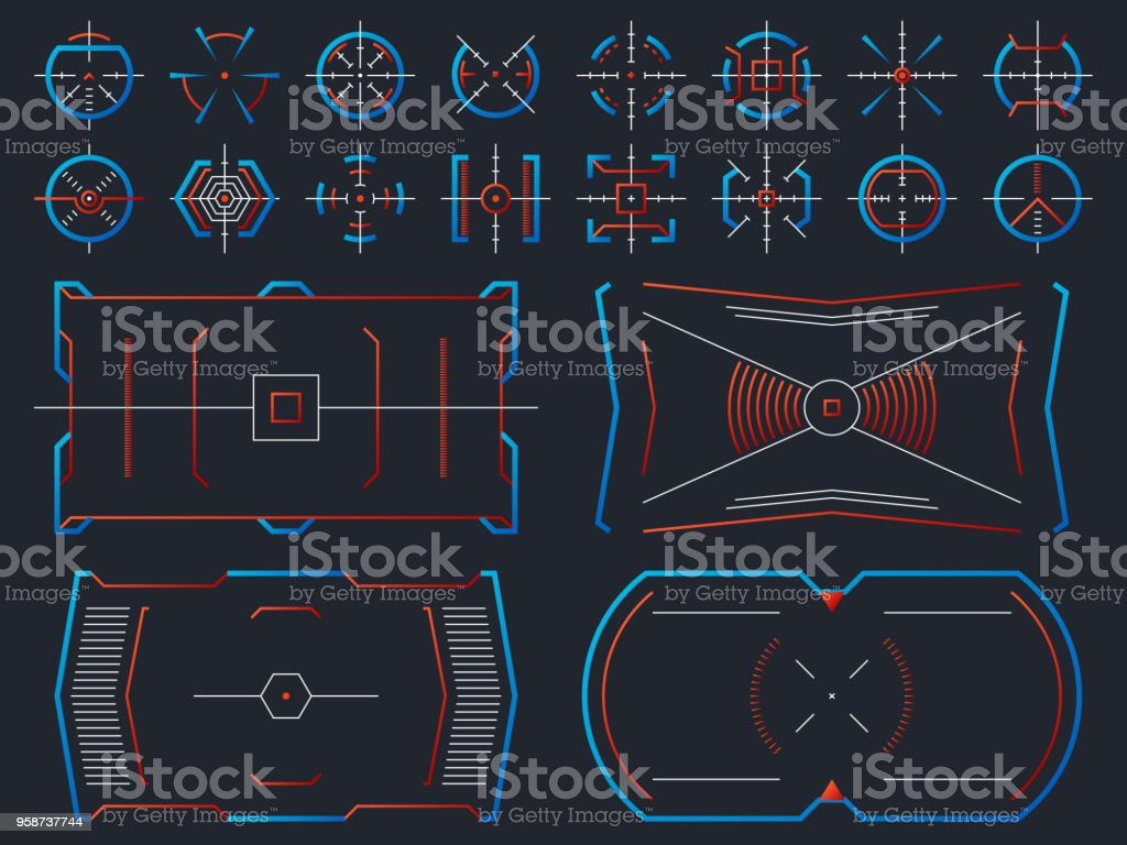Futuristic Hightech Virtual Screen Design Computer Systems Hud Panel With Tracking Aim Frames Vector Set Stock Illustration Download Image Now Istock