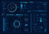 Futuristic hologram ui. Science hud interfaces, graph interface frames and tech regulators or button design elements digital graphics interface. Virtual hologram panels vector icons set