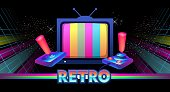 Abstract background, game console and retro television, old tv. Gadgets Joystick Floppy Disk Horizontal Vector Illustration