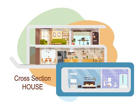 Futuristic House Cross Section Vector Interiors