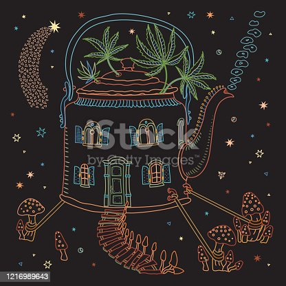 Futuristic house in tea pot in psychedelic colors with fly agaric mushrooms and cannabis hemp leaves on a black background. Hippie print, batik, humorous wallpaper, fashionable  bandana Textile print