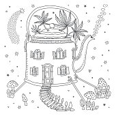 Futuristic house in tea pot with fly agaric mushrooms and cannabis hemp leaves on a white background. Adults coloring book page, Hippie chintz batik, humorous wallpaper, fashionable bandana print
