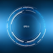 Futuristic VR HUD Circle Background. Virtual reality technology design. Sci-Fi template for games, banners, background, artificial intelligence graphical user interface and other
