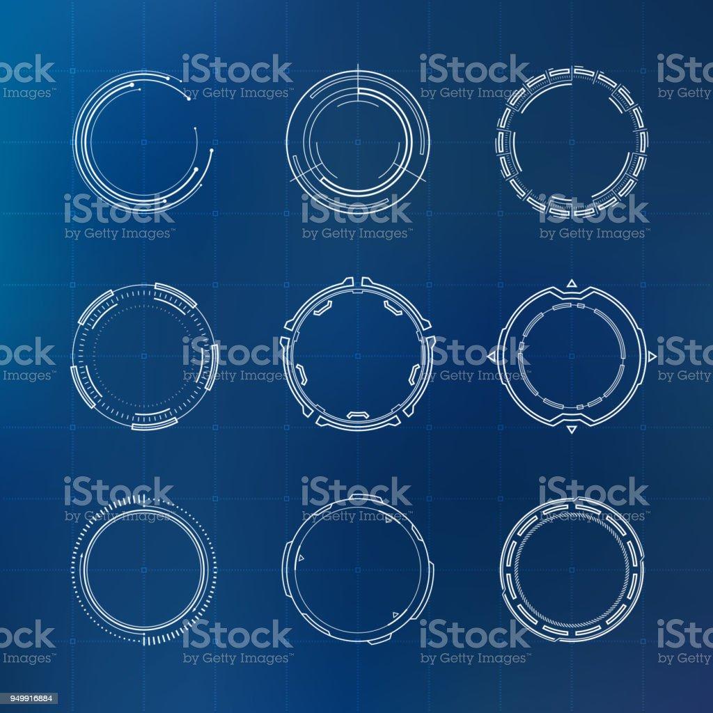 Cercles de HUD futuriste - Illustration vectorielle