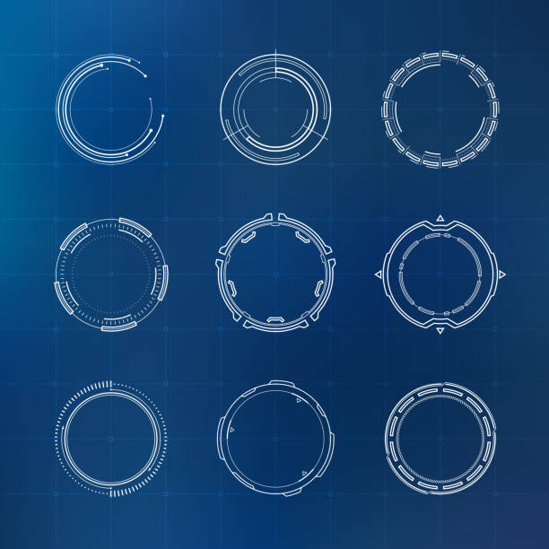 futuristic hud circles - technology icons stock illustrations, clip art, cartoons, & icons