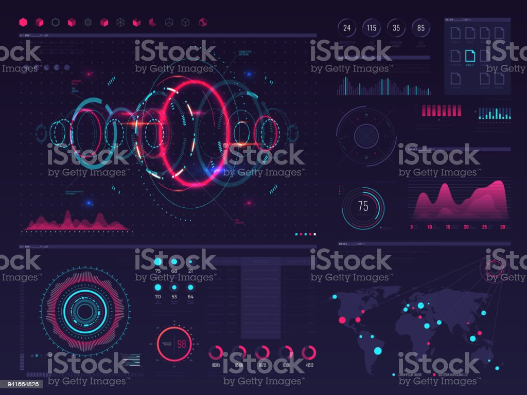 Futuristic hud digital touch screen display with visual data graphic, panels and chart vector infographic template royalty-free futuristic hud digital touch screen display with visual data graphic panels and chart vector infographic template stock illustration - download image now