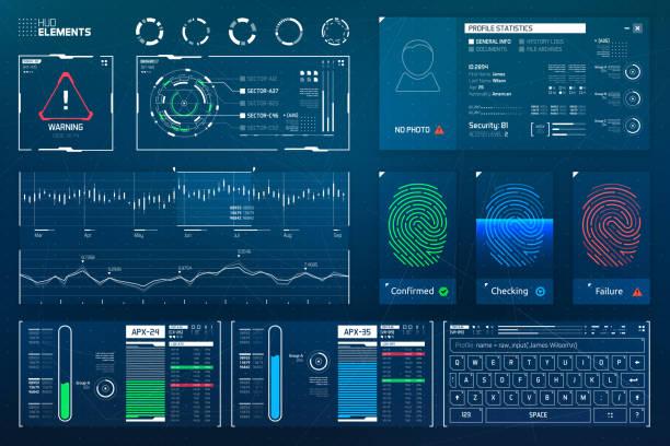未來的顯示器元素集 - 控制板 幅插畫檔、美工圖案、卡通及圖標