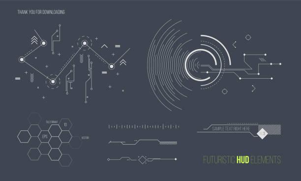 未来の hud 要素ベクトル コレクションです。スペース技術背景グラフィック デザイン オブジェクト。 - 集める点のイラスト素材/クリップアート素材/マンガ素材/アイコン素材