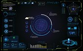 UI futuristic hud interface interactive visualization sci fi concept design eps 10 vector