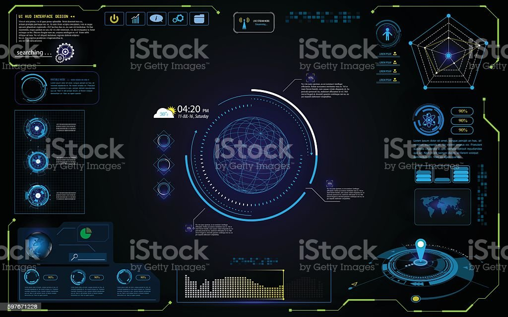 UI futuristic hud interface interactive visualization sci fi concept design vector art illustration