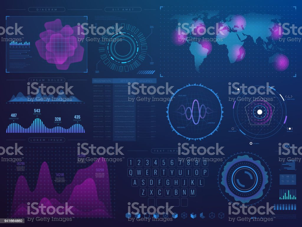 Futuristic hud interface. Science future tech vector ui with infographic elements vector art illustration