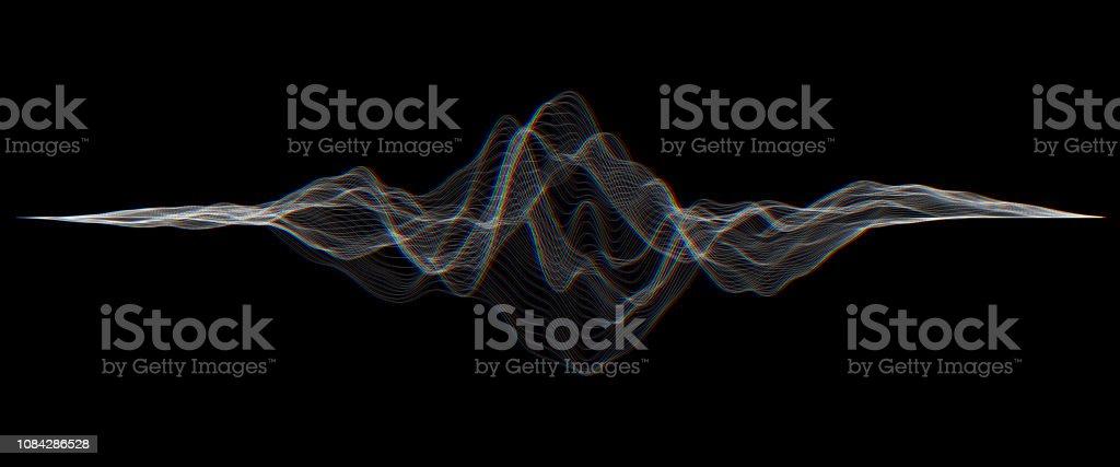 未来の Hud、ui ベクター グリッド。音楽の音の波を設定します。デジタル オーディオのイコライザー技術、パルス ミュージカル。 - 3Dのロイヤリティフリーベクトルアート