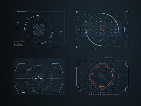 Futuristic hud virtual control panels. Hologram touch screen high tech vector design