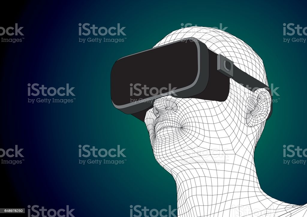 futuristic human head wearing vr headset for augmented reality vector art illustration