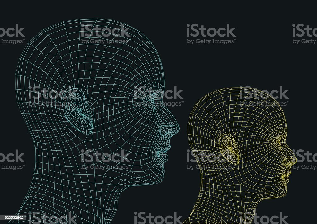 futuristic human heads vector art illustration