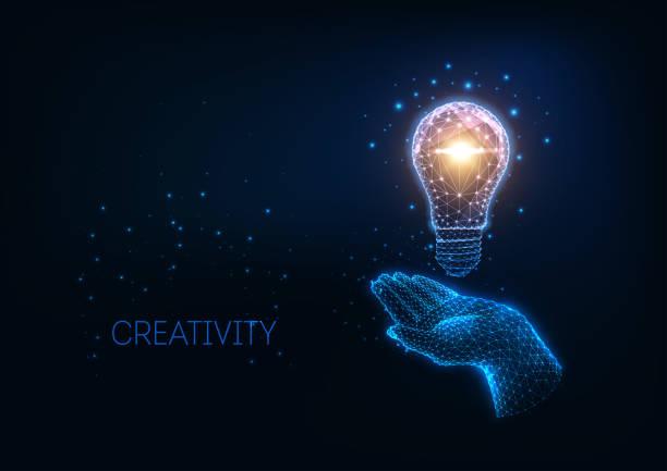 bildbanksillustrationer, clip art samt tecknat material och ikoner med futuristisk idé, kreativitets koncept med glödande låg polygonal glödlampa och mänsklig hand. - hand tänder ett ljus