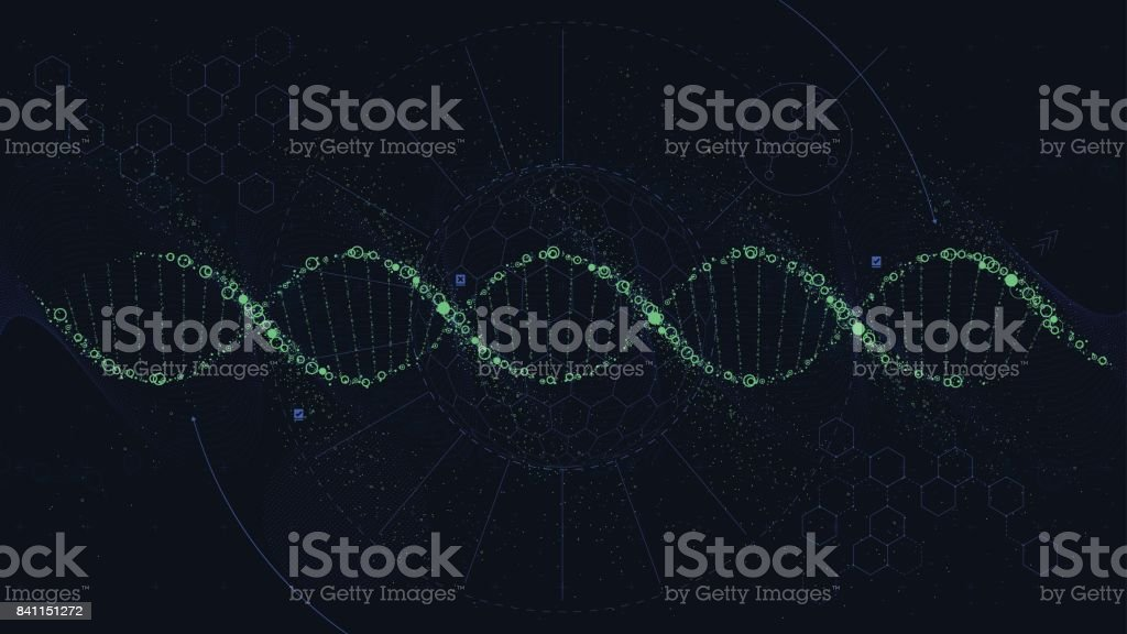 Futuristic illustration of the structure of DNA, Sci-Fi interface, vector background vector art illustration